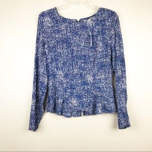 Banana republic sz 6 peplum long sleeve blouse